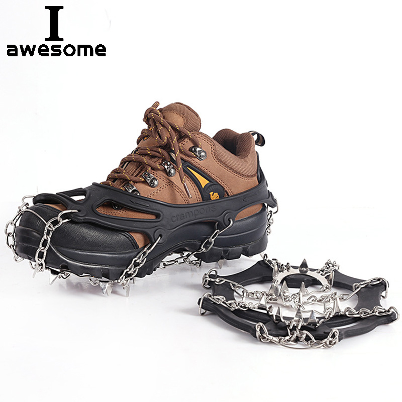 19 Teeth Steel Ice Gripper Spike For Shoes Anti Slip Hiking Climbing Snow Spikes Crampons Cleats Chain Claws Grips Boots Cover