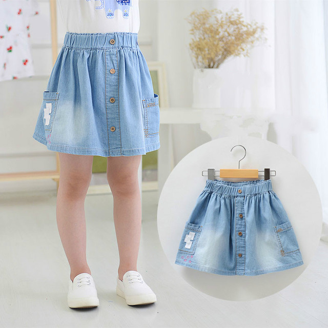 New Arrival Baby Girls Soft Denim Skirts Cotton Skirt With Pokets Kids Summer All
