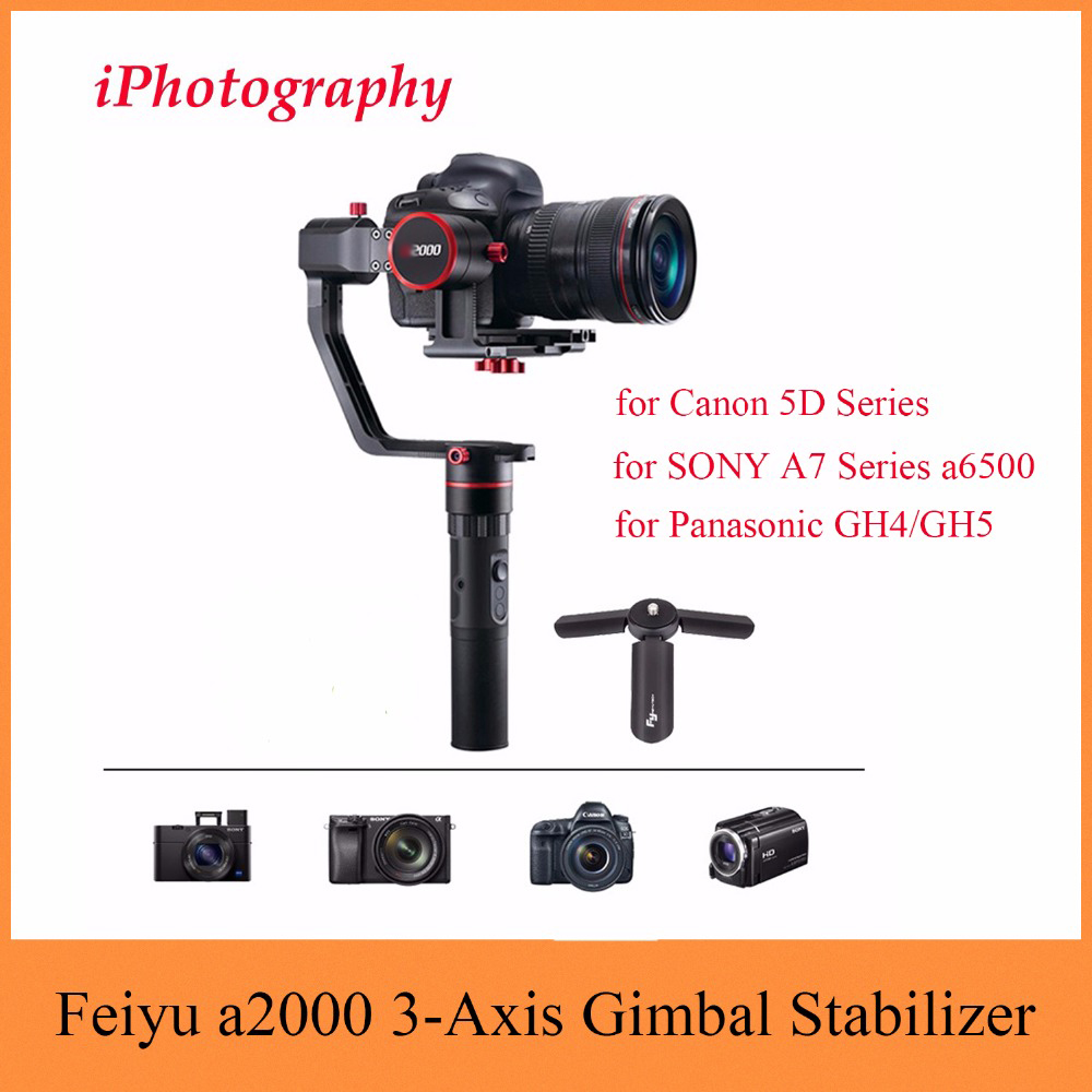 Feiyu Tech Feiyu a2000 3-Axis Gimbal Stabilizer for Canon 5D Series, for SONY A7 Series a6500, for Panasonic GH4/GH5,Dual Handle feiyu a2000 3 axis gimbal steadicam dslr camera dual handheld stabilizer for grip voor canon 5d sony panasonic 2000g