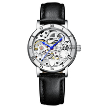 IK Women's Steampunk Automatic Mechanical Watch Genuine Leather Watch Band Strap Self Winding Lady Dress Wrist Bracelet Watch