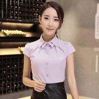 Summer 2016 White Blouse OL Shirt Formal Women Double Layer Collar Short Sleeve Tops Work Wear