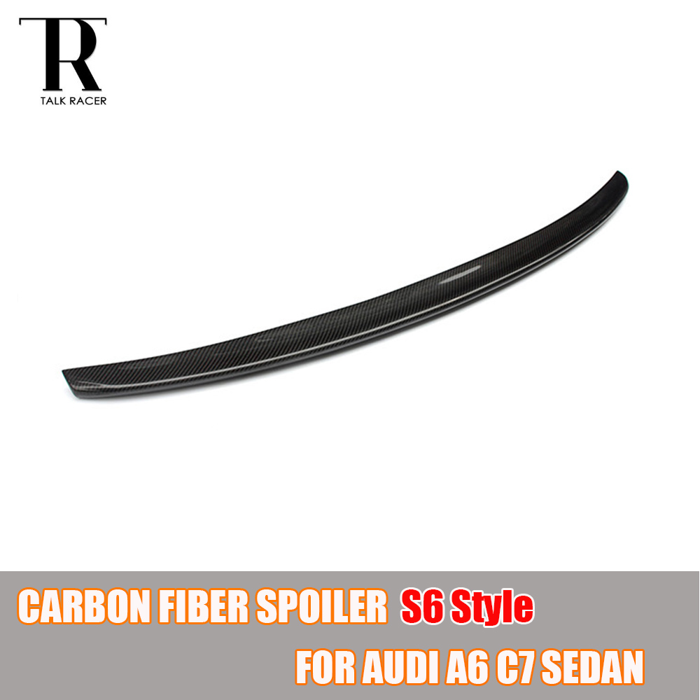 S6 Look A6 C7 Carbon Fiber Rear Wing Spoiler for Audi A6 C7 Sedan 4 Door 2013 - 2016 vegas душевая дверь vegas ep 75 профиль матовый хром стекло фибоначчи