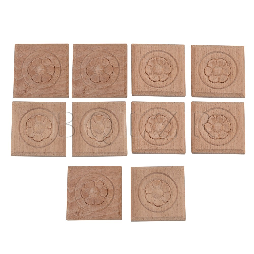 10pcs 5x5cm Wood Carved Closet Door Corner Flower A Onlay Decal Applique BQLZR