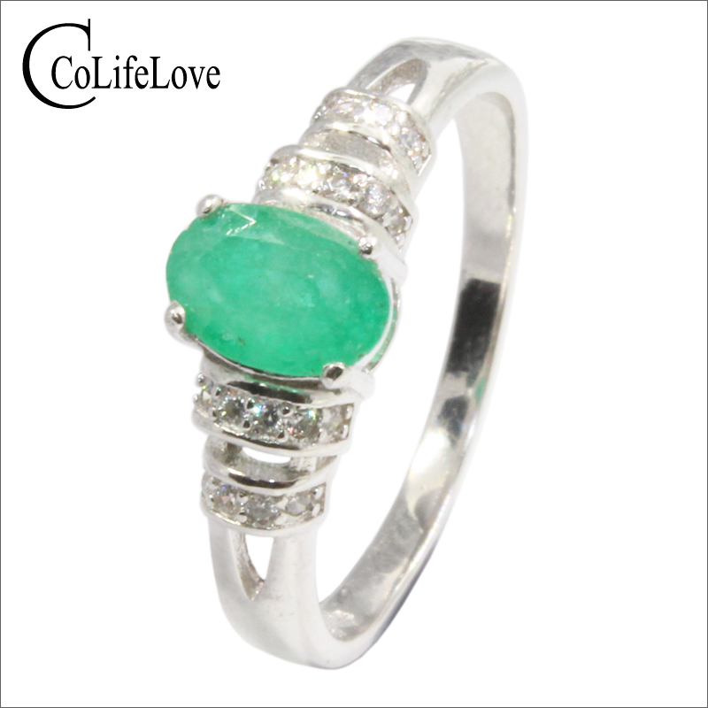 Classic emerald silver ring for woman 5 mm * 7 mm natural emerald ring solid 925 sterling silver emerald fine jewelry girl gift classic 10 75ct nano russian emerald ring emerald cut solid 925 sterling silver ring set best brand fine jewelry for women