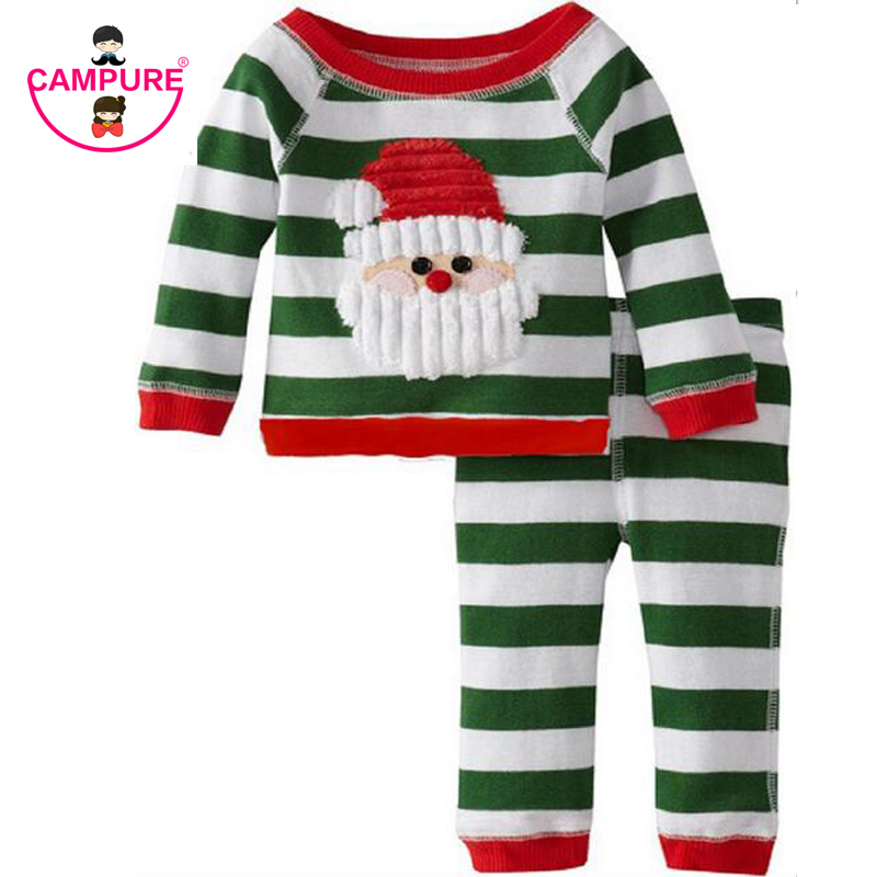 New 2017 Christmas Children Clothing Boys Suits Girls Cotton Santa Claus Stripe Tops+Pants Pajamas Sets Kids Clothes Sleepwear 2 7 years children boys girls christmas pajamas sets children clothing cotton kids long sleeve santa pyjamas for baby sleepwear