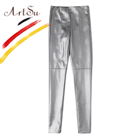 ArtSu 2017 Leather Pants For Women Casual Elastic Pencil Pants Fashion Ladies PU Zipper Leggings Stretch