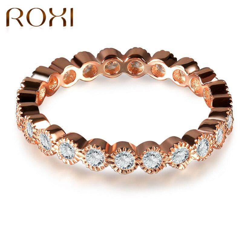 GemäßIgt Roxi Kristalle Verlobungsringe Für Frauen Mit Aaa Zirkonia Rose Gold Farbe Finger Ehering Weiblichen Anel Schmuck Bijoux