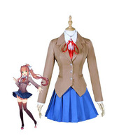 Doki Doki Literature Club Cosplay Costume Game DDLC Monika Cosplay Costume School Uniforms Outfits Suits For Women Full Set
