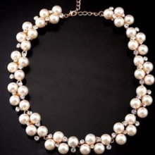 European  fashion flash drill pearl necklace and American brand Necklace imitation bride accessories wholesale