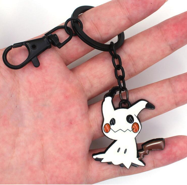 Mimikyu Metal Keychain Gengar Zinc Alloy Keyring Necklace Backpack Pendants Cosplay Gift