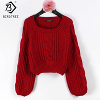 10 Colors Women Sweaters Lantern Sleeve Solid Warm Round Collar Winter Vintage Knitted Pullover Beige Sweaters
