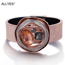 ALLYES Crystal Leather Bracelets for Women 2019 Fashion Trendy Metal Charm Wide Cuff Bracelet Femme Jewelry trendy rhinestone arrow shape cuff bracelet for women