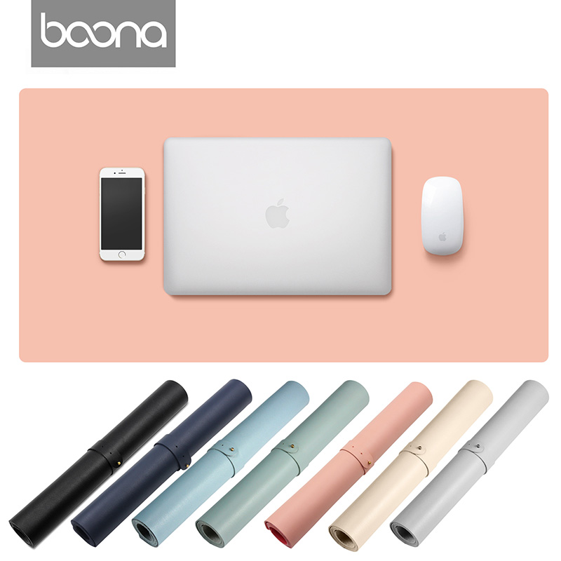 Boona Single Sided PU 100*50/70*35 Solid Color Non-Slip Water Resistant Table Mat Desk Mat Gaming Laptop Keyboard & Mouse Pad
