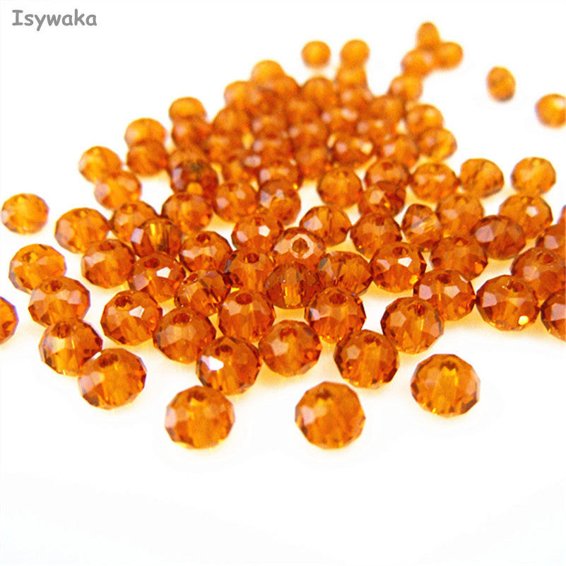 Isywaka Brown Color 3*4mm 145pcs Rondelle Austria faceted Crystal Glass Beads Loose Spacer Round Beads for Jewelry Making