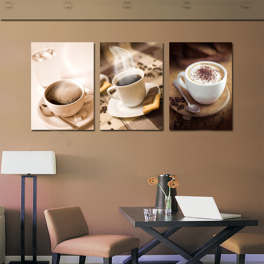 3 piece hot coffee cup painting wall art pictures kitchen for Kitchen room decoration