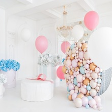 Laeacco Pink Balloons Birthday Party Gray Wall Flower Gift Chile Portrait Photo Background Backdrop Photocall Studio