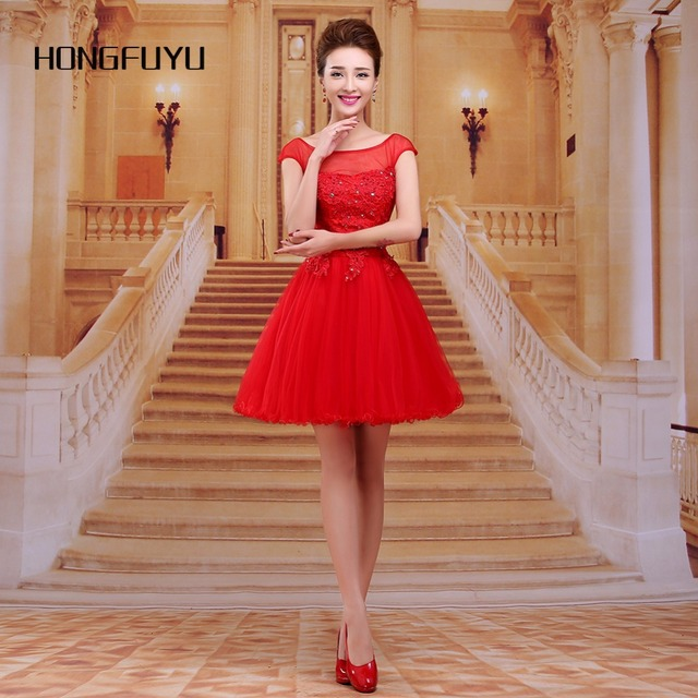 Real Photo Red Tail Dresses Y Tulle Scoop Cap Sleeves Short Dress 2018 A Line