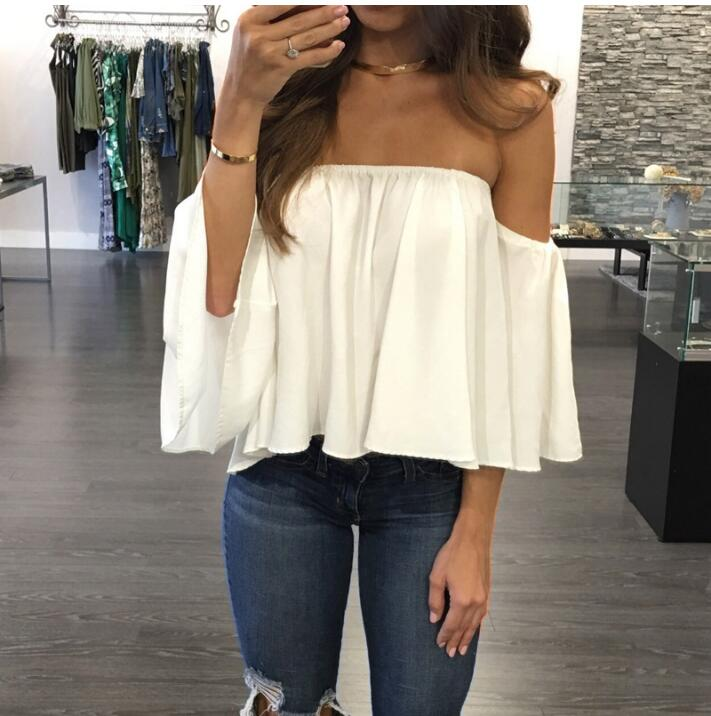 2020 Summer T-shirt <font><b>Women</b></font> <font><b>Fashion</b></font> <font><b>Sexy</b></font> Chiffon <font><b>Off</b></font> <font><b>Shoulder</b></font> Shirts Strapless <font><b>Short</b></font> <font><b>Sleeve</b></font> Beach Tops Tee Feminine Plus Size 5XL image