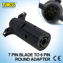 Tirol 7 Pin Blade TO 6PIN Round Trailer Adapter Trailer Light Plug Connector to 4 Pin Flat RV Towing T21850b