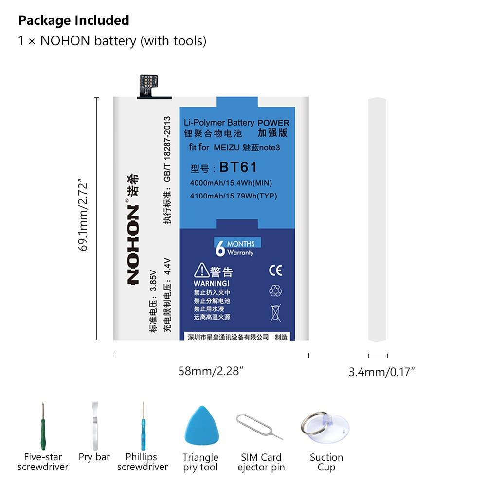 NOHON Bateria Do Telefone M3 BT61 para Meizu Nota Nota 3 M681H 4100 mAh Bateria Li-ion de Alta Capacidade de Substituição Do Telefone Móvel bateria