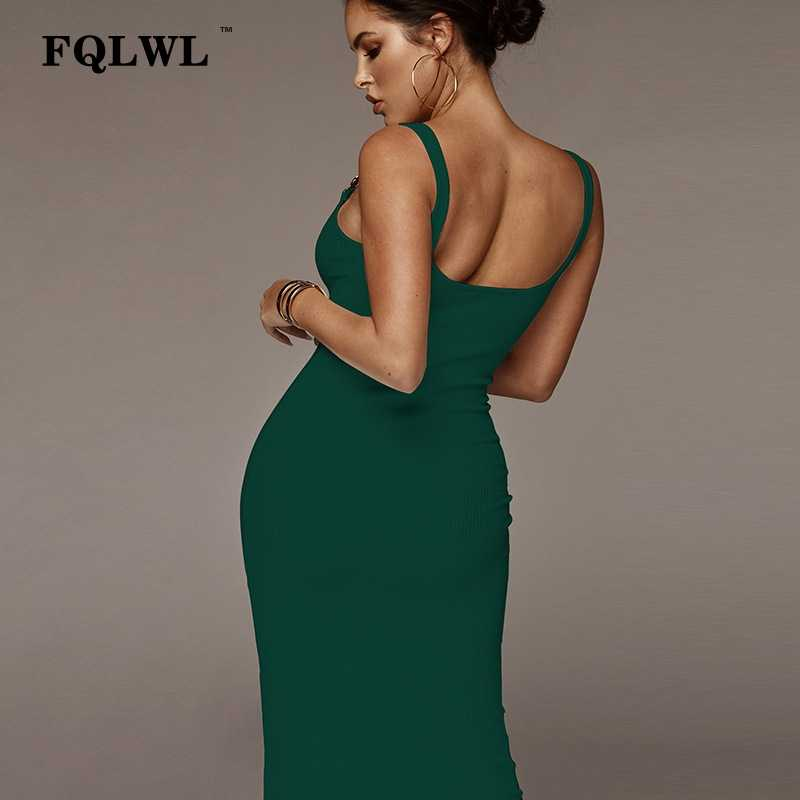 8728bd39c9c ... FQLWL Ribbed Knitted Wrap Maxi Long Dress Female Backless White Black Bandage  Sexy Bodycon Dress Women ...