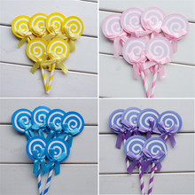 CRLEY 6pcs lollipop Cakes Toppers Handmade Round Colorful Candy Baby Shower Wedding Cupcake Dessert Decoration Gifts