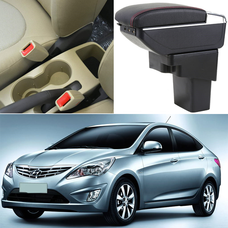 For Hyundai Solaris/Verna/Grand Avega armrest box central Store content box with cup holder ashtray car-styling accessoryFor Hyundai Solaris/Verna/Grand Avega armrest box central Store content box with cup holder ashtray car-styling accessory