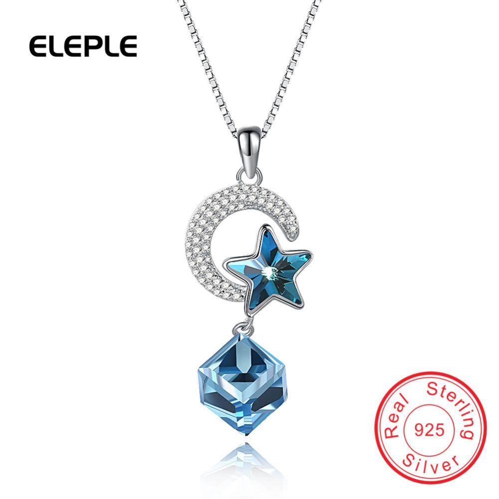 Eleple Classic Square Star Hollow Swarovski crystal S925 Sterling silver Necklace For Women Girls necklaces & pendants SVN256