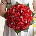 SoAyle Hot selling Wedding Bouquet 2016 bridal bouquets 25cm*27cm Rhinestone crystal Artificial flowers wedding flowers