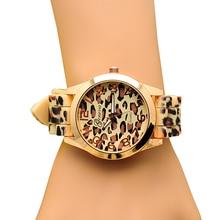 Популярные Модные Дизайн классический леопардовая расцветка дамы кварцевые часы женщины мужчины Силиконовые платье часы 5v73
