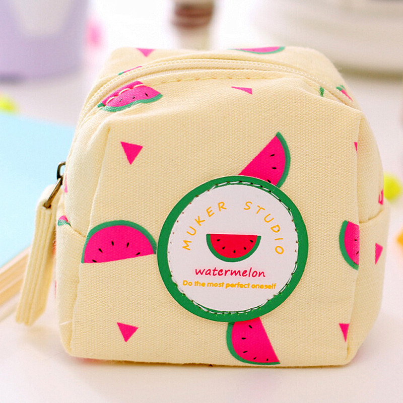 New casual cute canvas purse square watermelon creative perspective coin bag holding a small key cases women mini wallets 9*8cm filicide a conflict resolution perspective