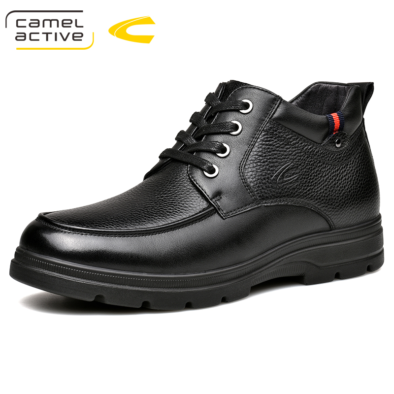 2b7027afbd4 Camel Active New Winter Genuine Leather Men Boots High Quality Lace-up Men  shoes Warm Snow Boots Motorcycle Boots