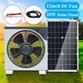 12inch11W DC12V Fan Mit DC-krokodil clip linie USB Solar panel Drei-geschwindigkeit einstellung Stille Tragbare fan Für outdoor activitie
