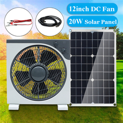 12inch11W DC12V Fan With DC-crocodile clip line USB Solar panel Three-speed adjustment Silent Portable fan For outdoor activitie