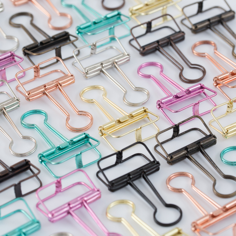 Solid Colourful Metal Hollow Long Tail Clip, Bill/invoice Filofax Binder Clips Stuffs-mint Rose Gold Silver