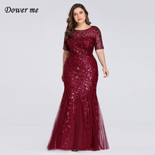 Dower Me Red Trumpet Dress 2019 Summer Short Sleeve Plus Size Women Party Club Dresses Sexy Elegant Sequins Slim Vestidos C308