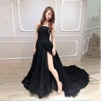 Katristsis d 2018 Sexy Women Black Prom Dresses Side seam Long Prom Dresses Vestido De Festa Custom Made