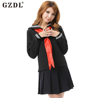 GZDL Women High School Student Girl Uniform Cosplay Costumes Top Fancy Dress Pleated Mini Skirt Set