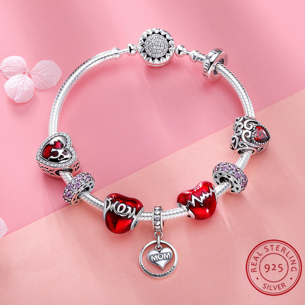 100% Real 925 Sterling Silver Red Color Bracelet for Women Luxury Romantic Christmas Jewelry Accessories Gift Top Quality цены онлайн