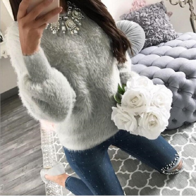 2018 New Warm Winter Velvet Casual Long Sleeve Gray Sweater Female Plush Pullovers Sweaters Autumn Fashion Women Clothes