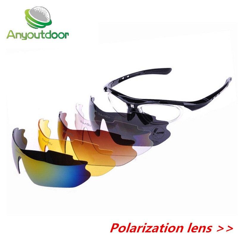 Prix pour Anyoutdoor 2016 Polarisées lunettes de soleil De Vélo De Vélo lunettes UVA UVB Sport Lunettes de Soleil 5 Lentille BLEU cyclisme lunettes