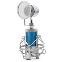 BM 8000 Professional Sound Studio Recording Condenser Wired Microphone With 3.5mm Plug Stand Holder blue