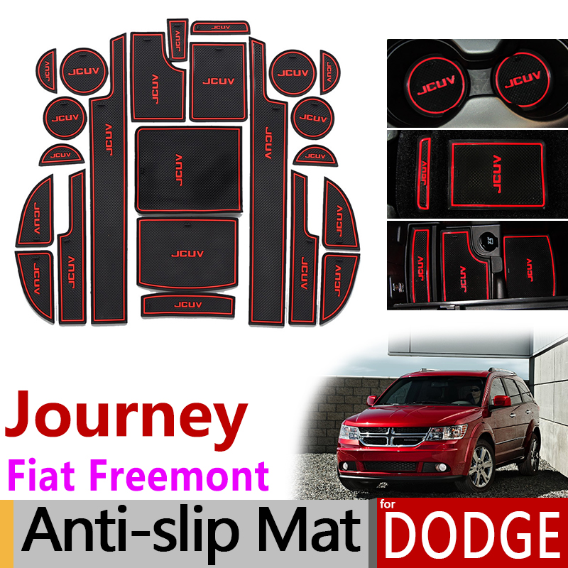 Anti-Slip Gate Slot Mat Rubber Coaster for Dodge Journey JC Fiat Freemont 2009 - 2016 SRT R/T Accessories Stickers 2011 2015