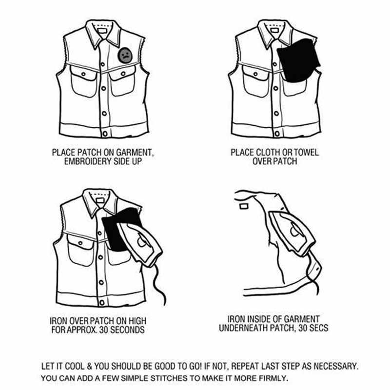 1 PC Hitam Putih Biker Patch untuk Pakaian Besi Pakaian Huruf Bordiran Tengkorak Bintang Stripes Bordir Stiker Putaran Badge