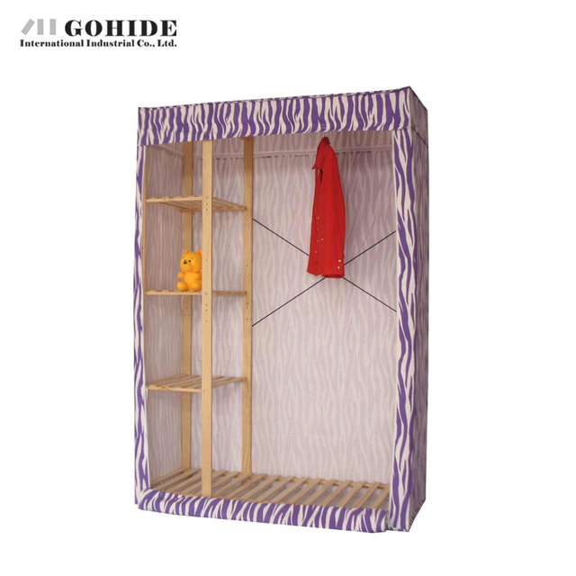 Gohide Savoring 190cm High Home Solid Wood Simple Cloth Wardrobe Zipper Seal Hanging Clothes Cabinet Bedroom Furniture