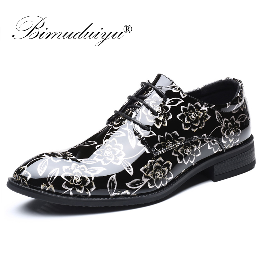 BIMUDUIYU Plus Size 48 Men Dress Shoes Floral Pattern Formal Shoes Leather Luxury Fashion Groom Wedding Shoes Men Oxford Shoes velvet men shoes luxury hand baroque pattern plate flower men shoes wedding shoe men flat shoes plus size 6 13 free shipping