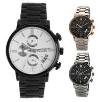 New Fashion Business Men Stainless Steel Multifunction Calender Quartz Wrist Watch