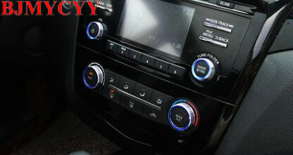BJMYCYY 4PCS/SET Automotive air conditioning and sound knob metal decorating ring For Nissan Qashqai J11 2016-2018 вилка ring automotive rba10
