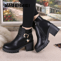 Superstar Shoes Woman Solid Black Boots Women Winter Platform Boot Buckle High Heels Ankle Boots Plush