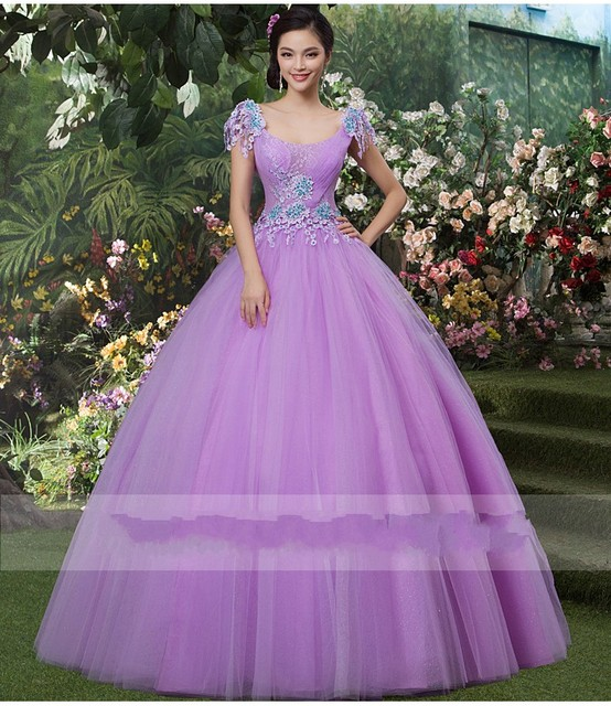 869c7126455 Cheap Purple Quinceanera Dresses Tulle Ball Gown Applique Princess vestidos  de 15 anos Form Prom Gala